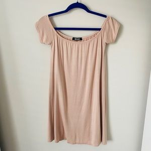 MISSGUIDED Nude Cap Sleeve Shirt Dress- Size 10